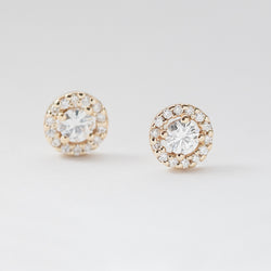 Diamond Halo Moissanite Earrings