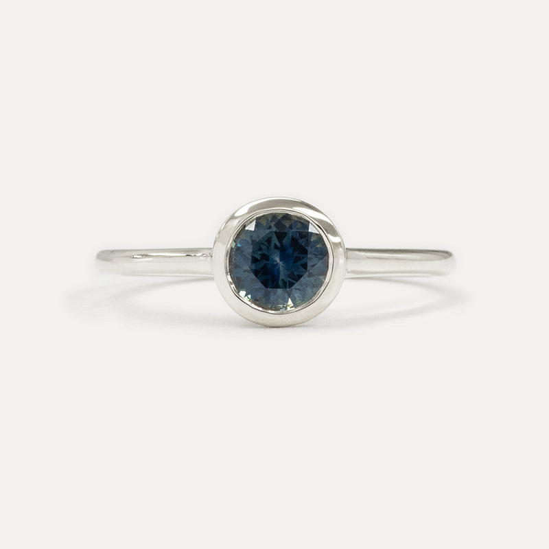 Ethereal Montana Blue Sapphire Bezel Engagement Ring