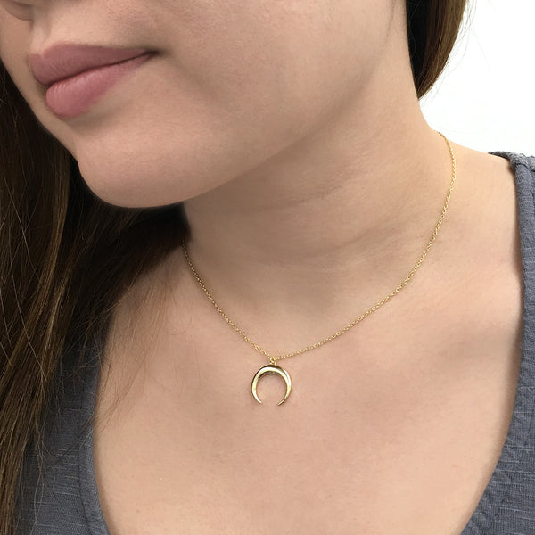 Double Horn Gold Necklace Necklace - A Gilded Leaf jewelry