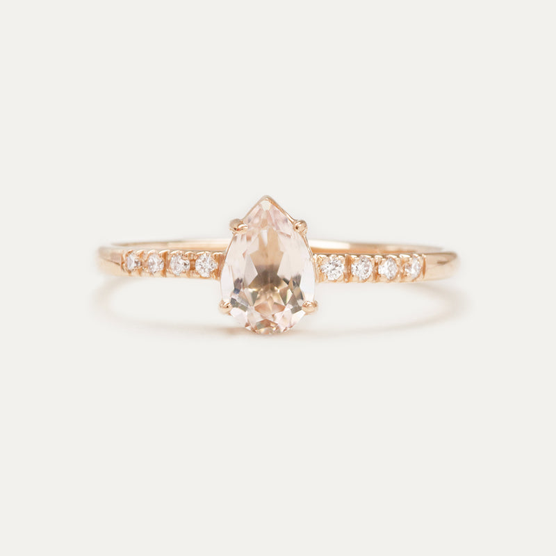 Morganite Pear Cut Diamond Ring Rings - A Gilded Leaf jewelry