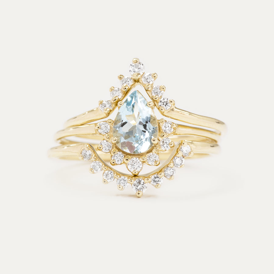 Aquamarine Pear Cut Diamond Wedding Set