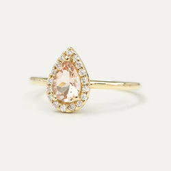 Halo Pear Morganite and Diamond Engagement Ring - Sample
