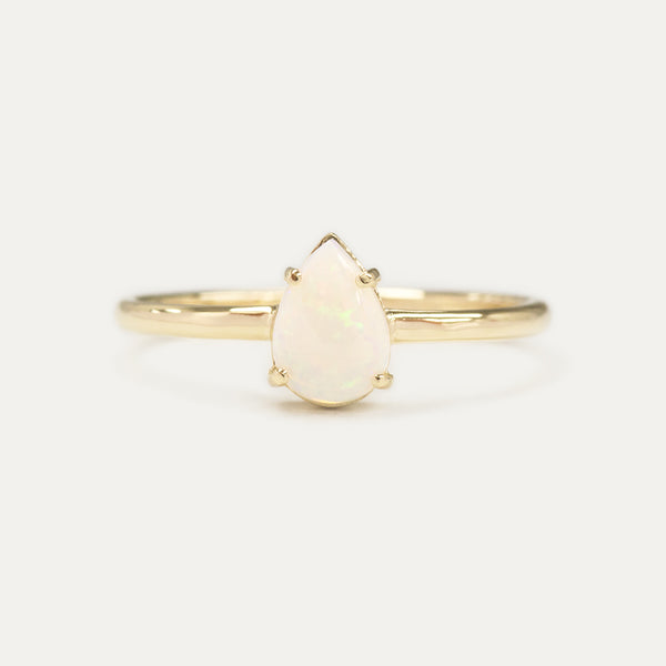 Pear Opal Solitaire Ring - Sample