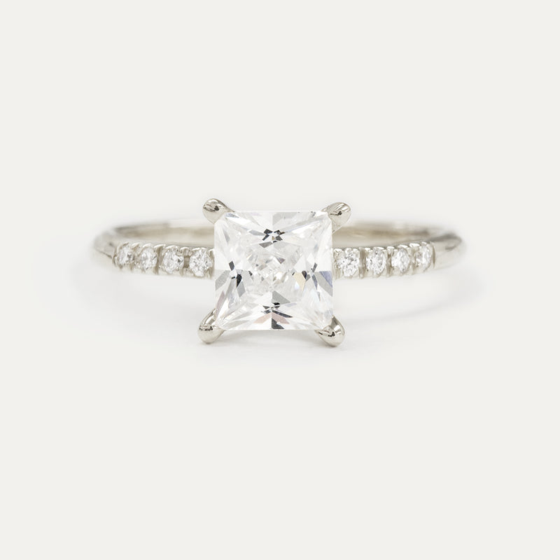 6x6MM Princess Moissanite Engagement Ring With 8 Side Diamonds