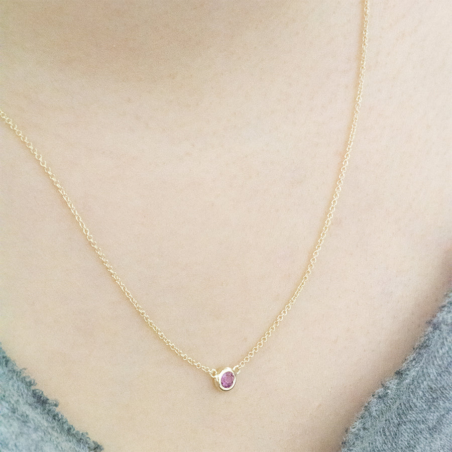 Solitaire Rhodolite Garnet Necklace Necklace - A Gilded Leaf jewelry