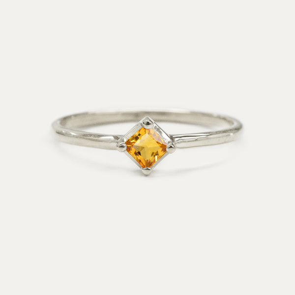 Princess Cut Citrine Solitaire Ring Rings - A Gilded Leaf jewelry