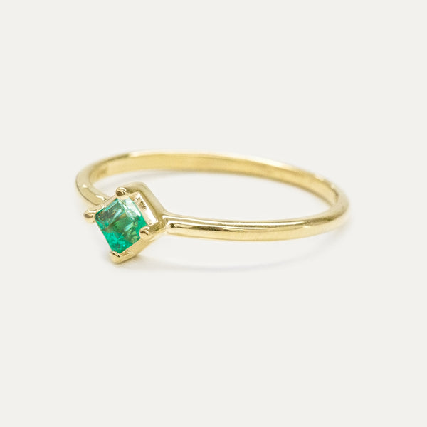 Princess Cut Emerald Solitaire Ring