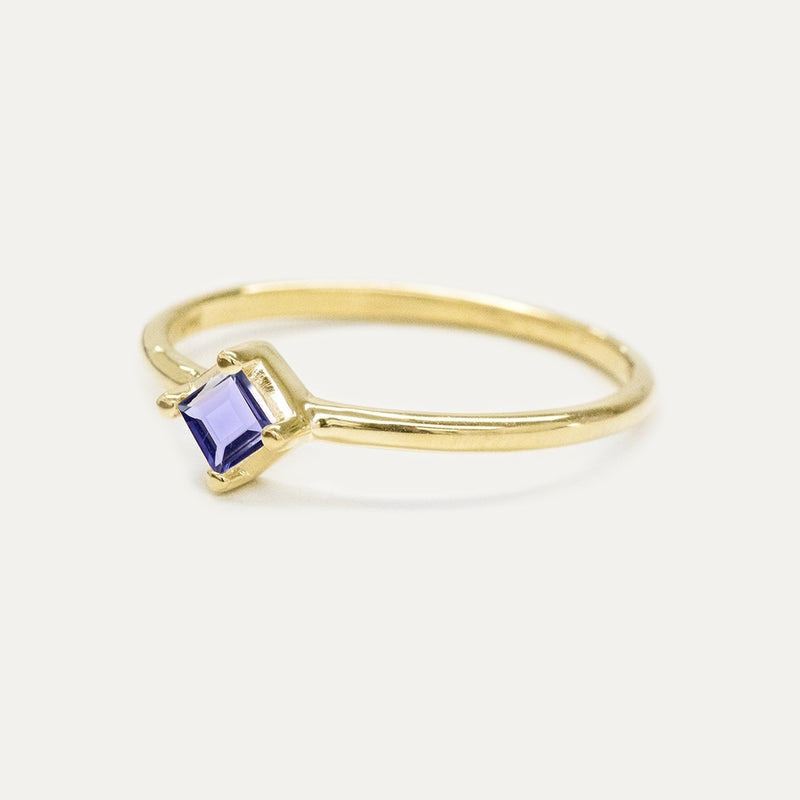Princess Cut Iolite Solitaire Ring Rings - A Gilded Leaf jewelry