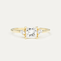 Three Stone Princess Cut & Round Moissanite Engagement Ring