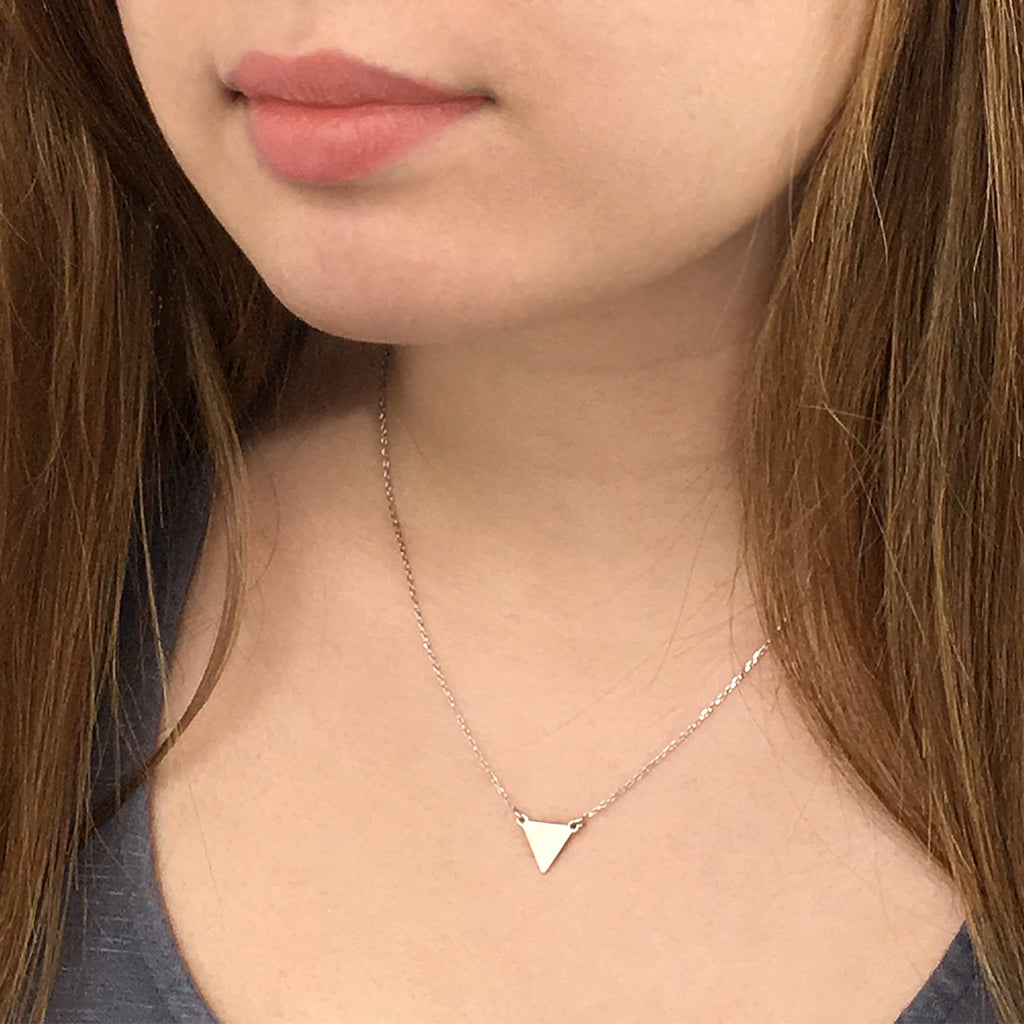 Triangle Geometric Necklace - Sterling Silver Necklace - A Gilded Leaf jewelry