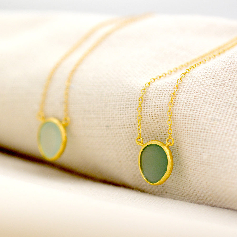 Green Quartz Bauble Necklace Necklace - A Gilded Leaf jewelry