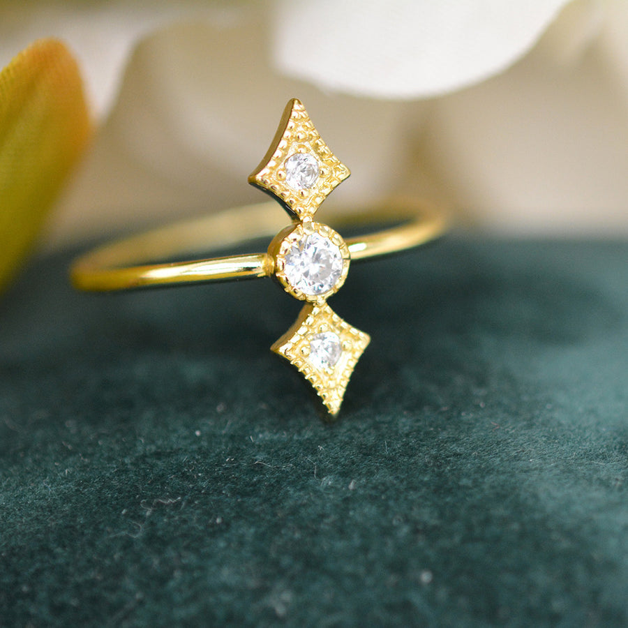 Arrow Sterling Silver CZ Ring Rings - A Gilded Leaf jewelry