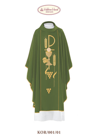Embroidered chasuble with chalice and host added wheat and grapes design. - Haftina Liturgical Vestments