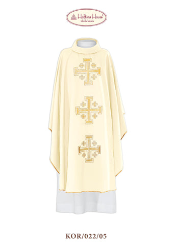 Chasuble with three embroidered Jerusalem Crosses - Haftina Liturgical Vestments