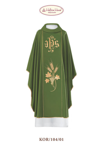 Chasuble with JHS embroidery - Haftina Liturgical Vestments