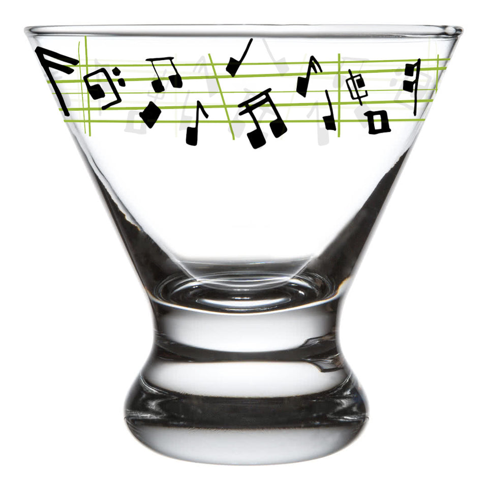 "Sam Hamann Designed Martini Glass with ""Notetini"" Recipe"