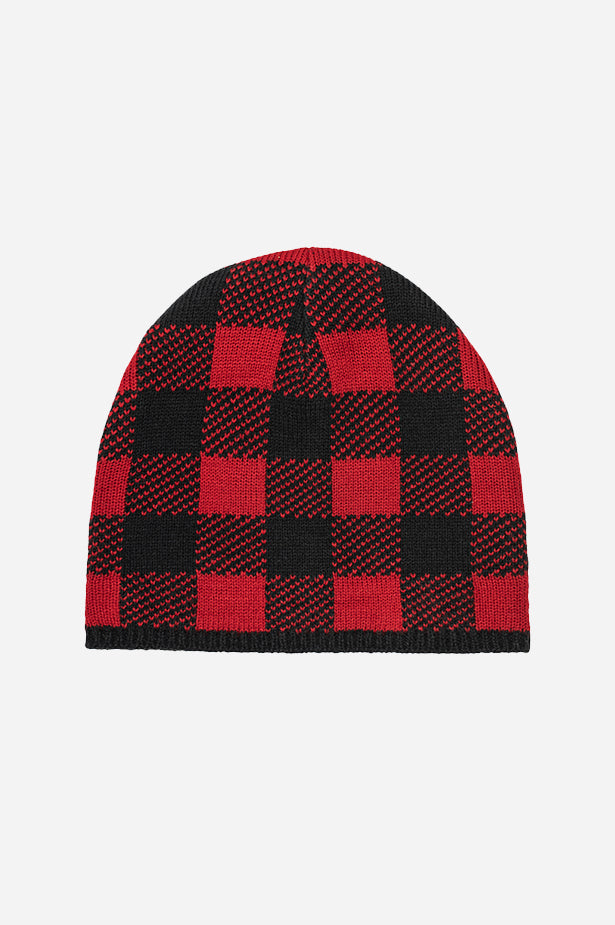 Buffalo Plaid Beanie Black Red