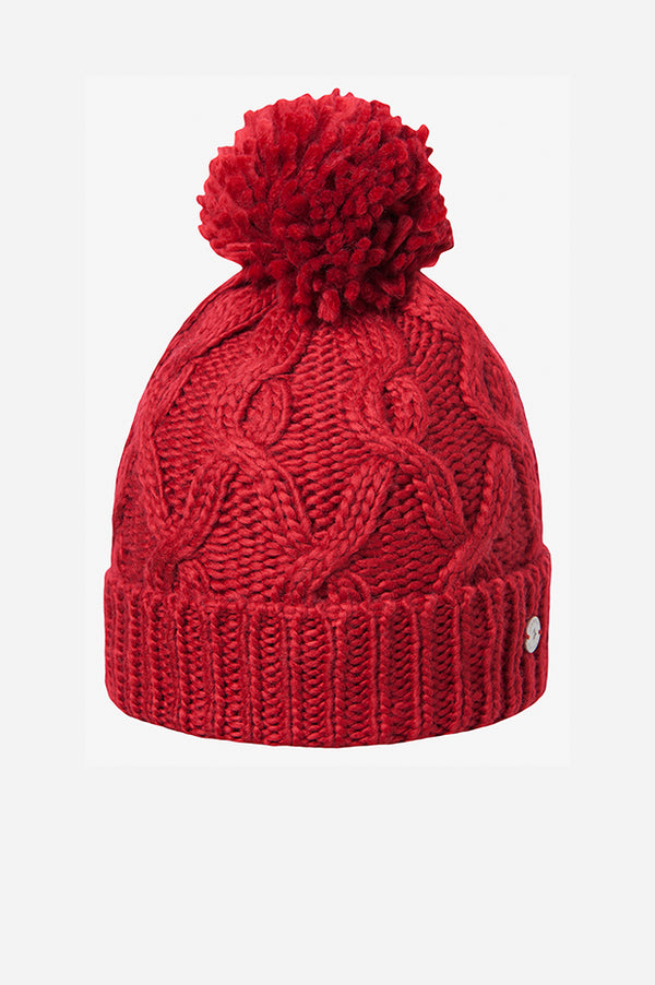 CABLE CUFF POM BEANIE