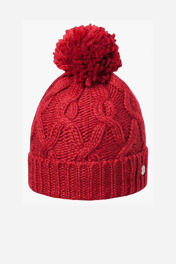 Cable Cuff Pom Beanie Red
