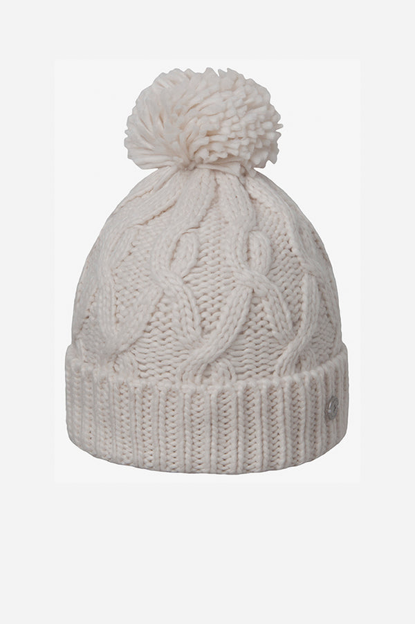 Cable Cuff Pom Beanie Natural