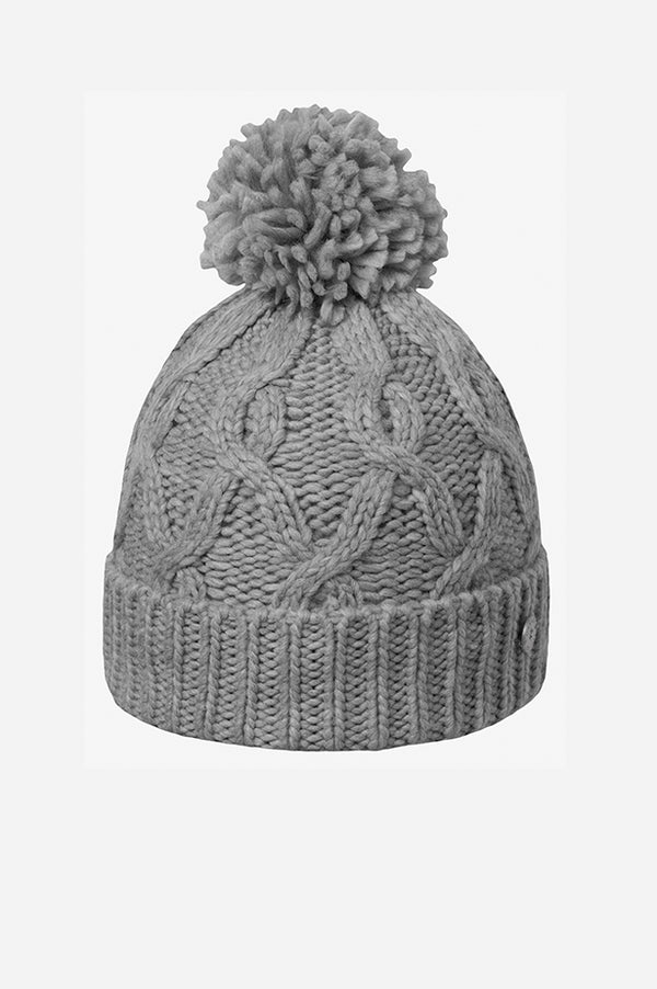 Cable Cuff Pom Beanie Heather Grey