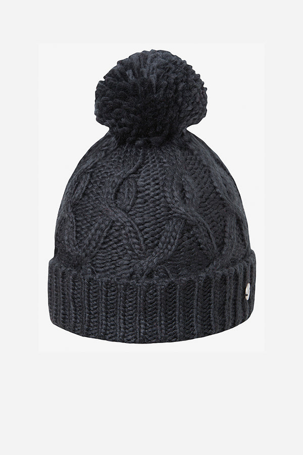 Cable Cuff Pom Beanie Black