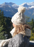 Cable Cuffed Pom Hat