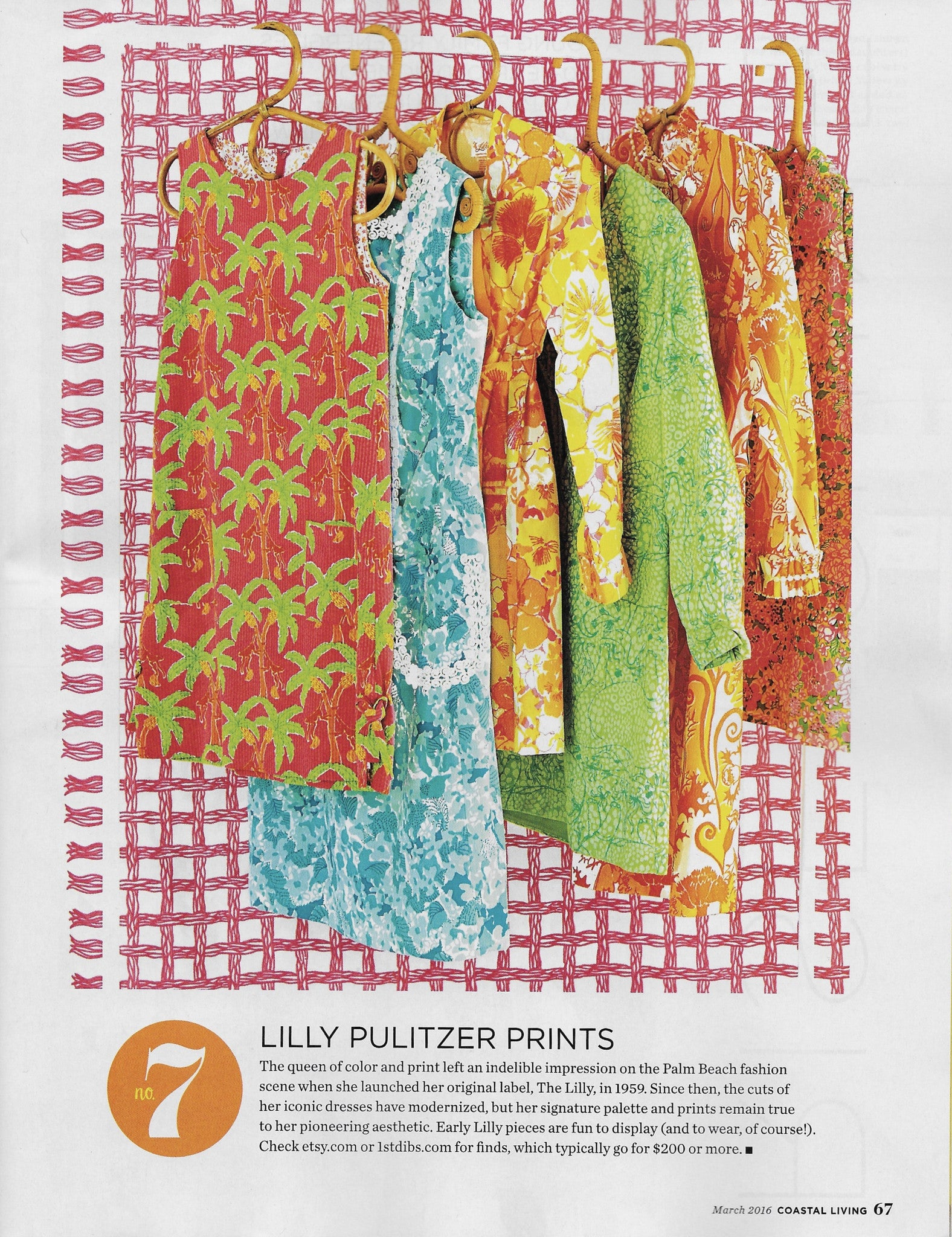Vintage Lilly Pulitzer in Coastal Living Magazine, March 2016