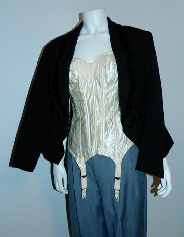 1940s wool blazer, 1950s satin corset, and 1930s wool pleated menswear trousers. Very 1990s Madge vibe!