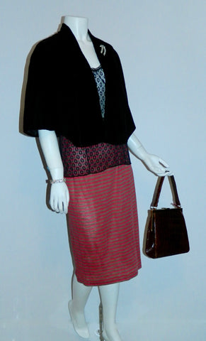 1950s velvet capelet and rhinestone jewelry, 1970s French lace camisole, 1980s wool jersey striped skirt, 1960s alligator bag.