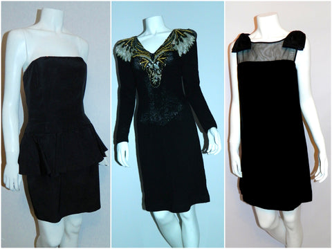 1980s AJ Bari strapless peplum dress with rhinestone trim, 1980s Wellmore knit dress with sequin front, 1960s velvet dress with sheer top and bow detailing.