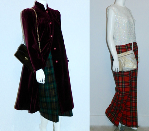 (L) 1970s Andrew Gellar bag, 1970s velvet coat, 1980s wool plaid gauchos. (R) 1950s sequin shell, 1970s red wool tartan bell bottoms, 1980s Sharif metallic patchwork bag.