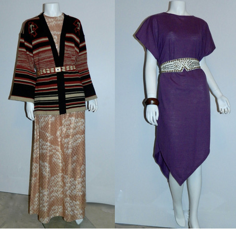 (L) 1960s gold dot metallic cloud print gown, 1970s cardigan, 1980s wood beaded belt. (R) 1980s wool jersey cape and studded leather belt, 1960s wood and brass bracelet.