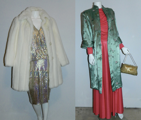 (L) 1980s white faux fur Oleg Cassini coat and gold Cuisine dress. (R) 1970s satin brocade jacket, 1970s coral Grecian dress, gold beaded evening bag.