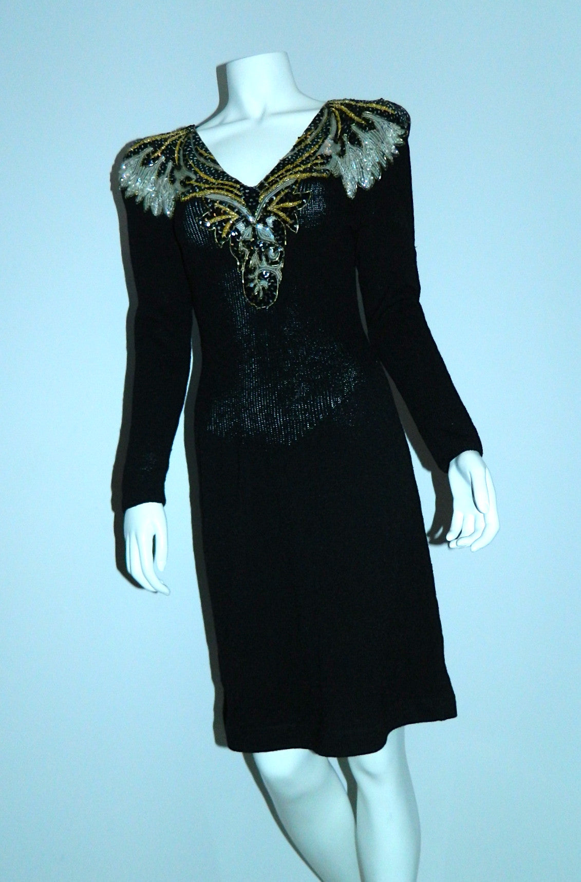 1980s GLAM black dress vintage Pat Sandler Wellmore sequin front knit dress
