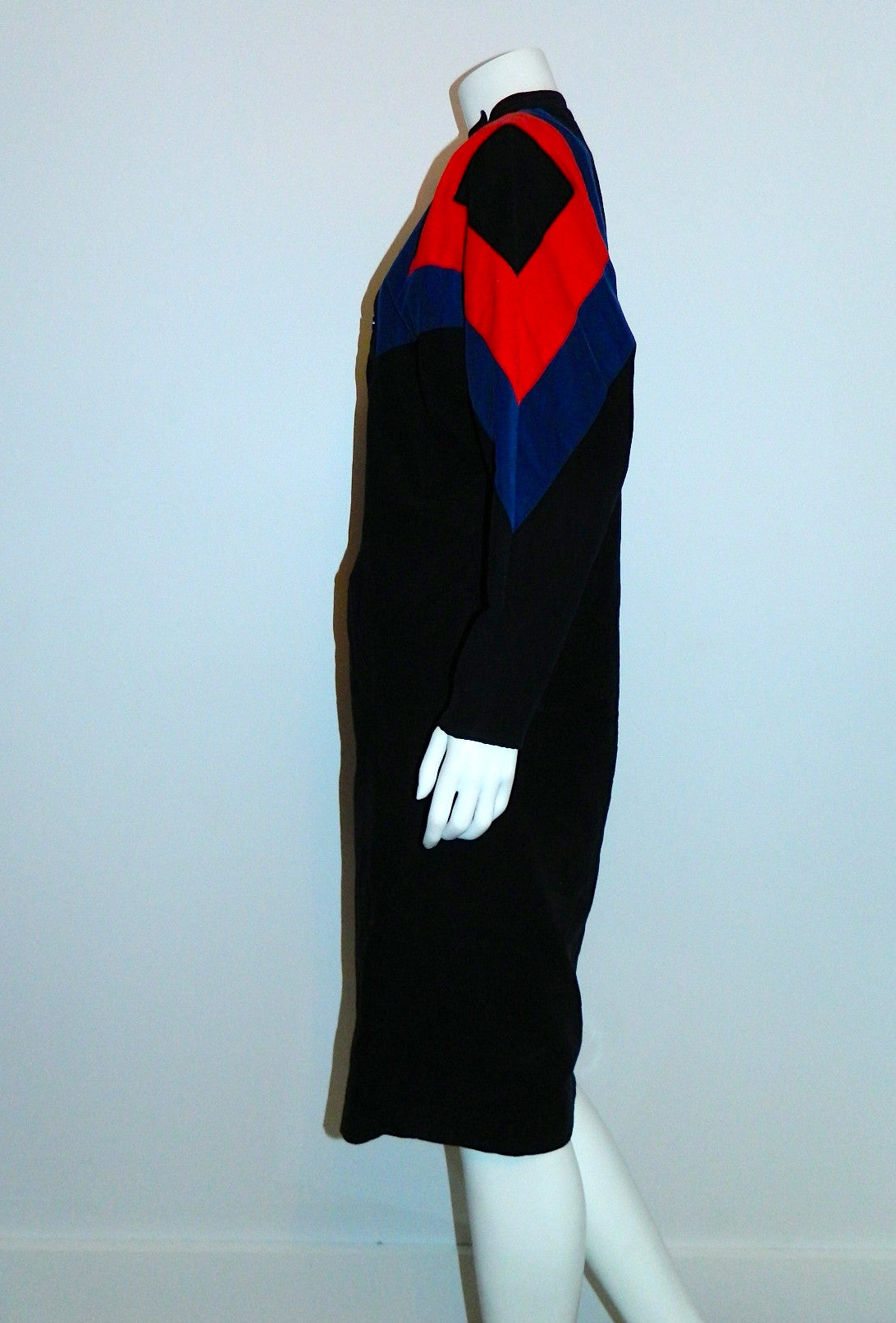 vintage 1980s Gerard Darel dress / black corduroy color block sheath dress / abstract XS