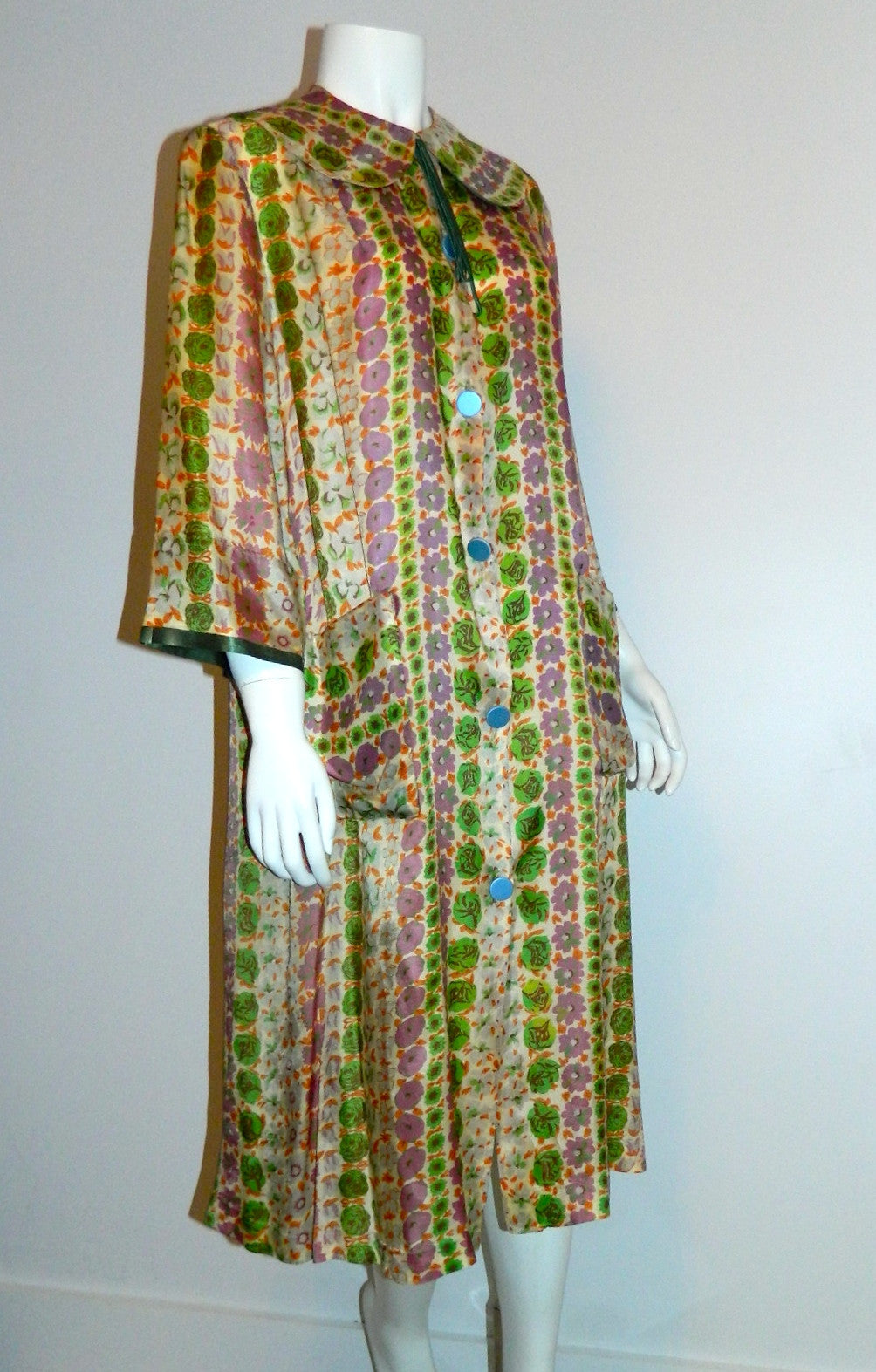 MOD 1960s Stella Fagin robe Floral Print house dress S M
