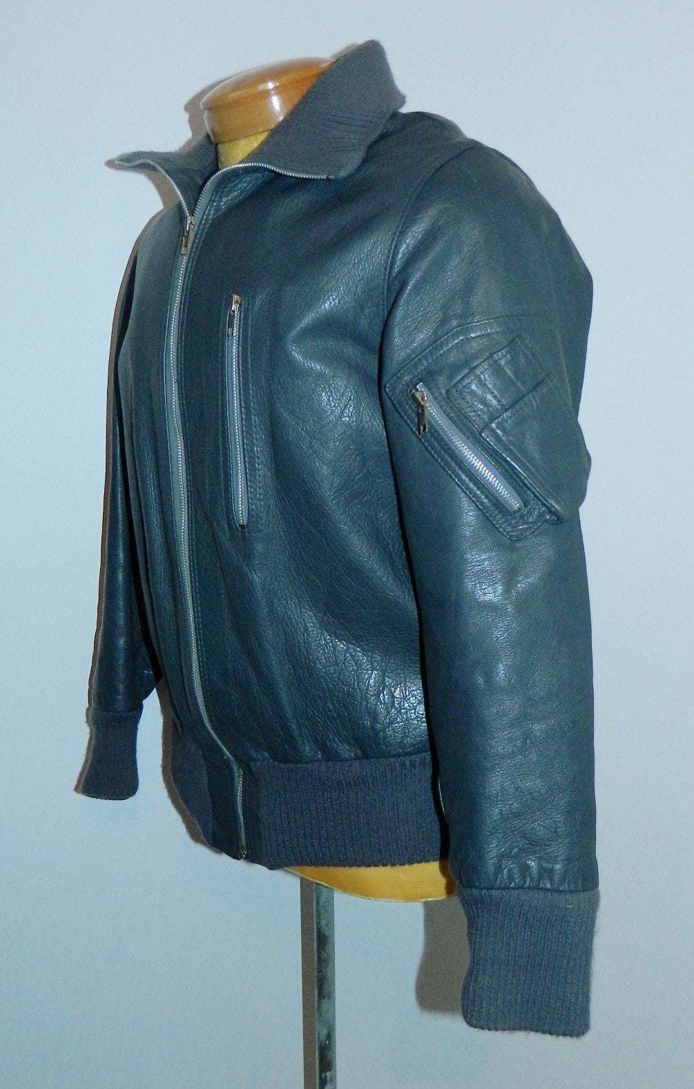 vintage 1970s German Luftwaffe leather jacket gray leather flight jacket pilot EU 50