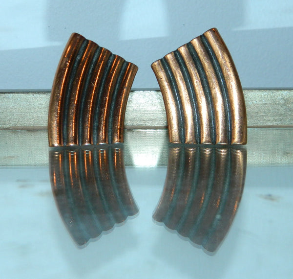 vintage Yves Saint Laurent earrings Abstract copper YSL