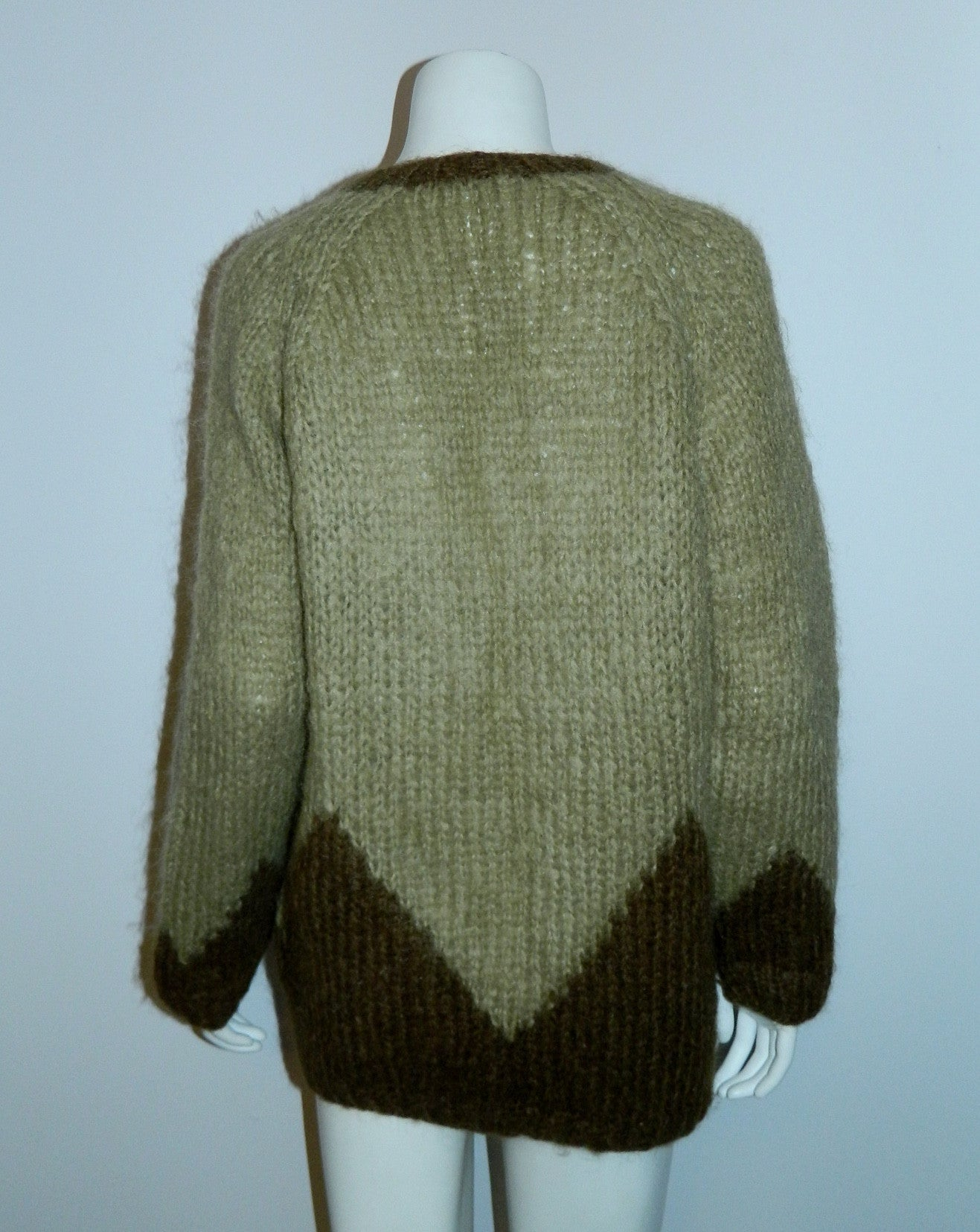hand knit Italian mohair cardigan sweater 1960s green OS cozy chic