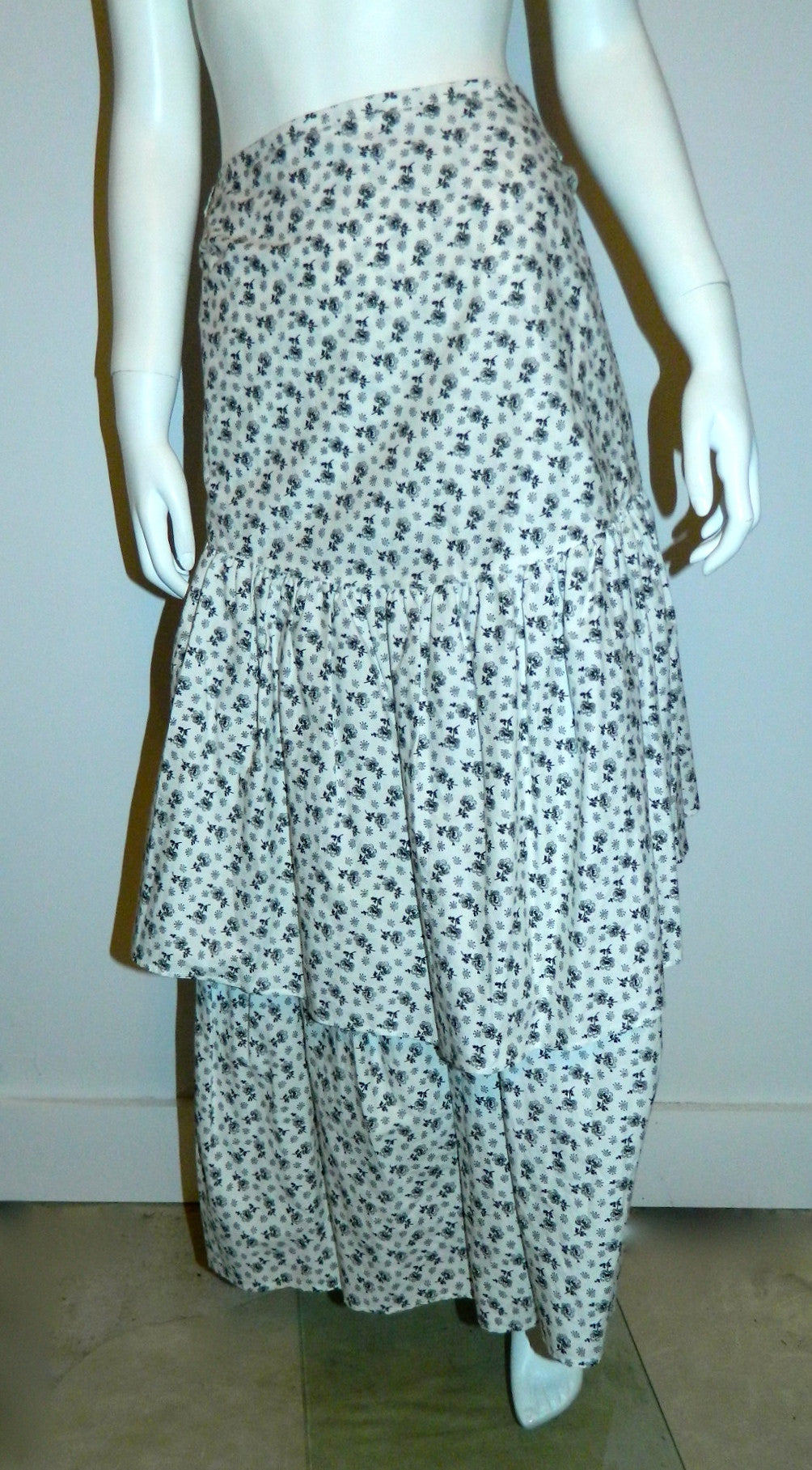 vintage white cotton KENZO floral print tiered skirt / 1980s strapless dress 40 / US Medium