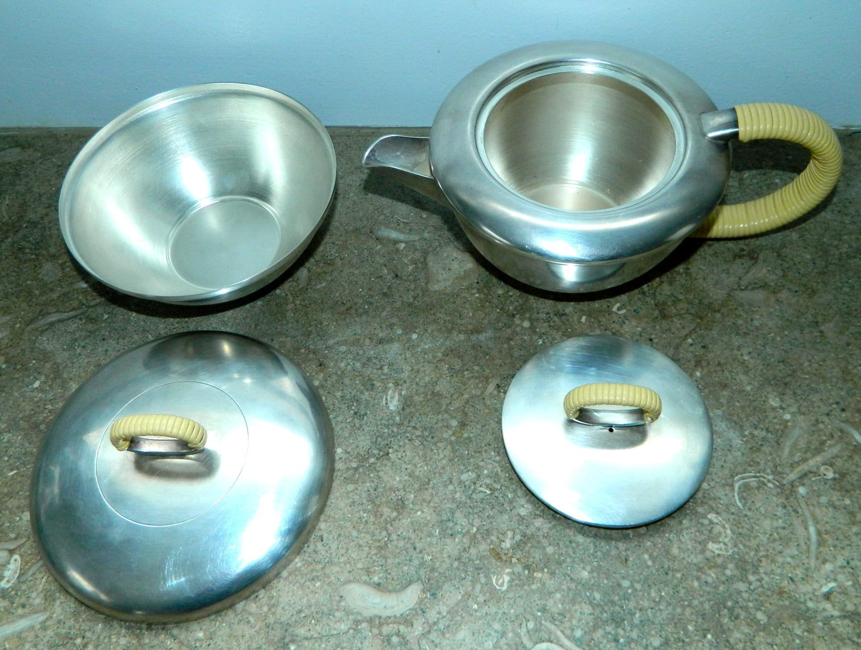 Argentine Moderne coffee set Chrome cream and sugar bowl
