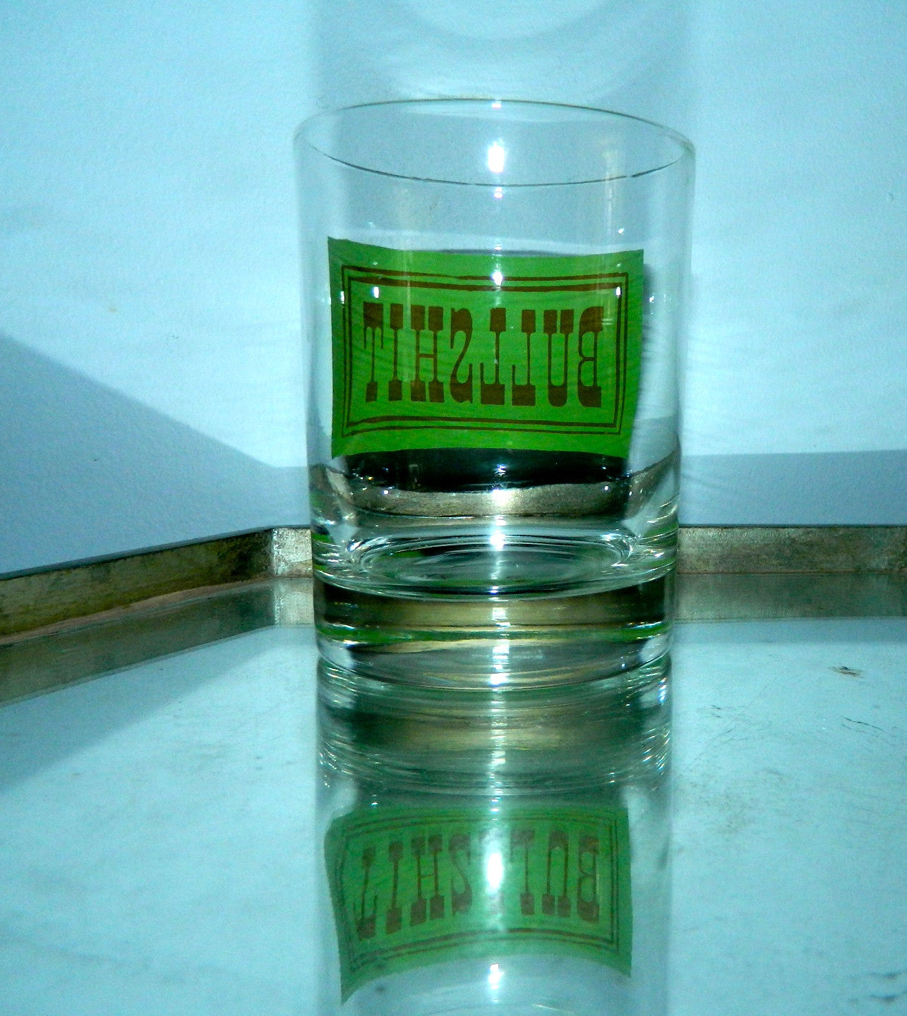 BULLSHIT glass vintage 1970s barware