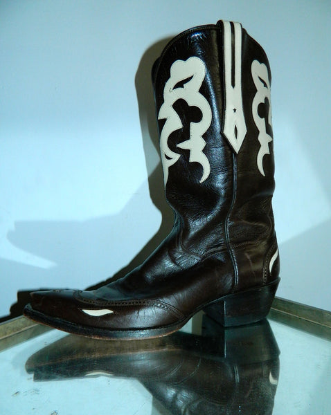 J.B. Hill cowboy boots #29 Kangaroo leather chocolate brown ivory US womens 8 1/2 B
