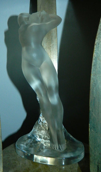 Lalique crystal statue Danseuse Bras Leves nude woman sculpture