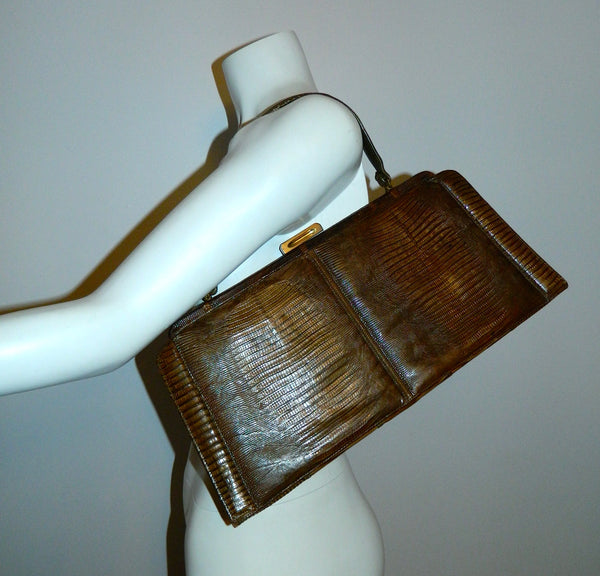 vintage brown TEGU lizard handbag Palizzio 1960s purse