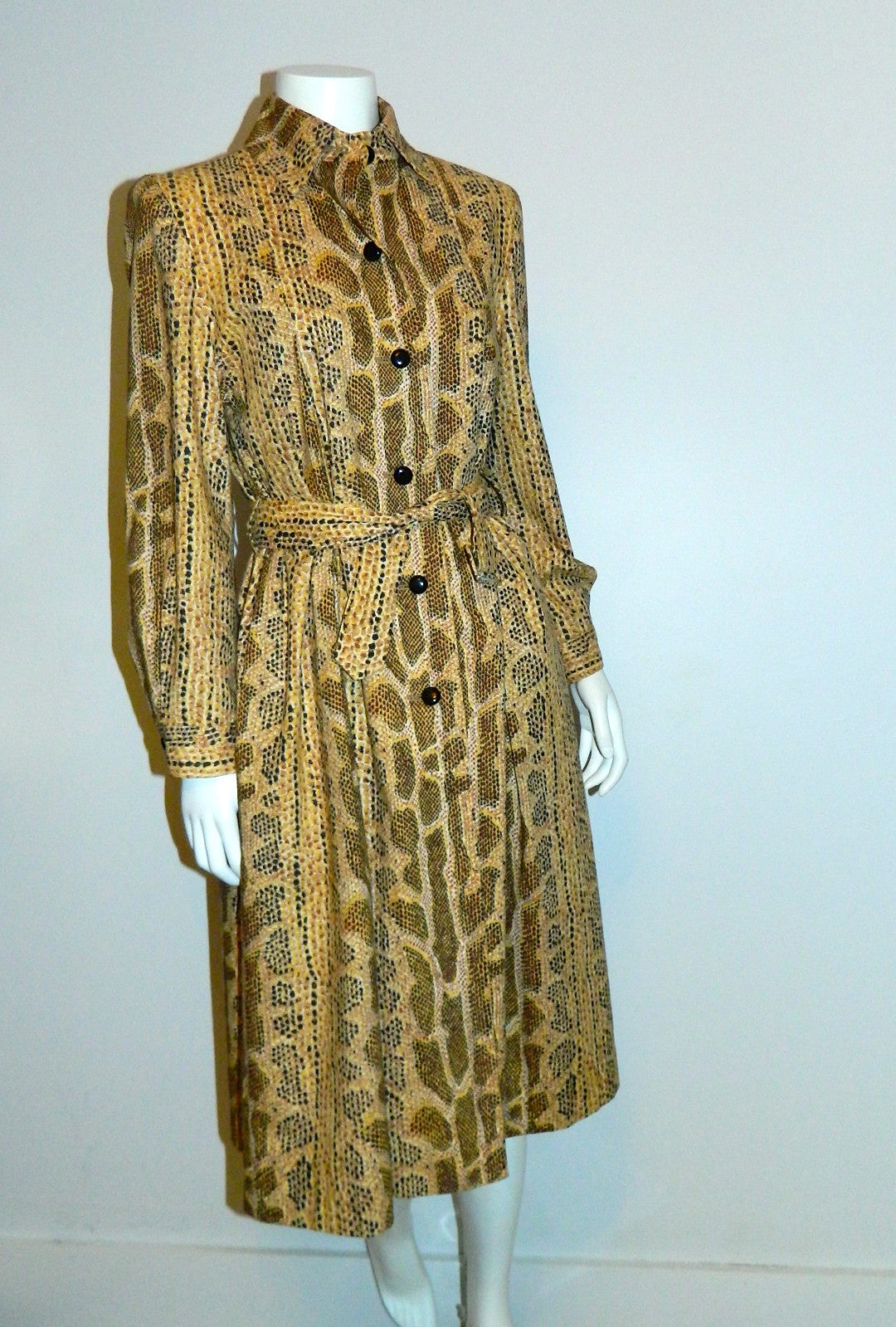 vintage SNAKESKIN print trench coat 1980s Albert Nipon pleated jacket XS