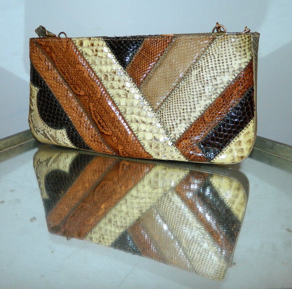 vintage clutch bag / python snake lizard / Supreme 1970s PATCHWORK exotics shoulder purse