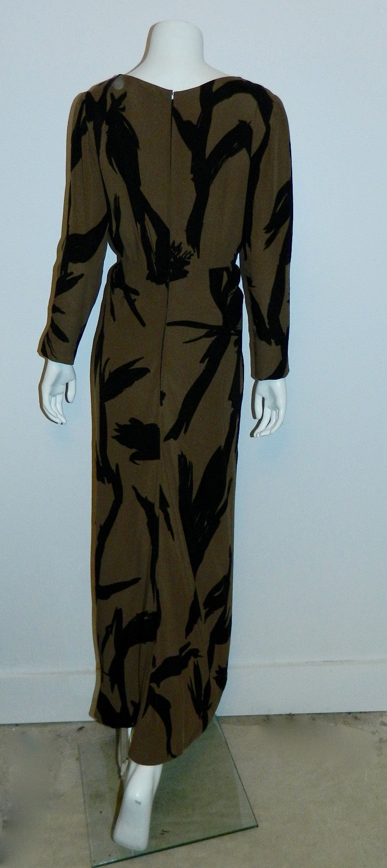 abstract print silk gown BUD KILPATRICK vintage 1960s dress XS