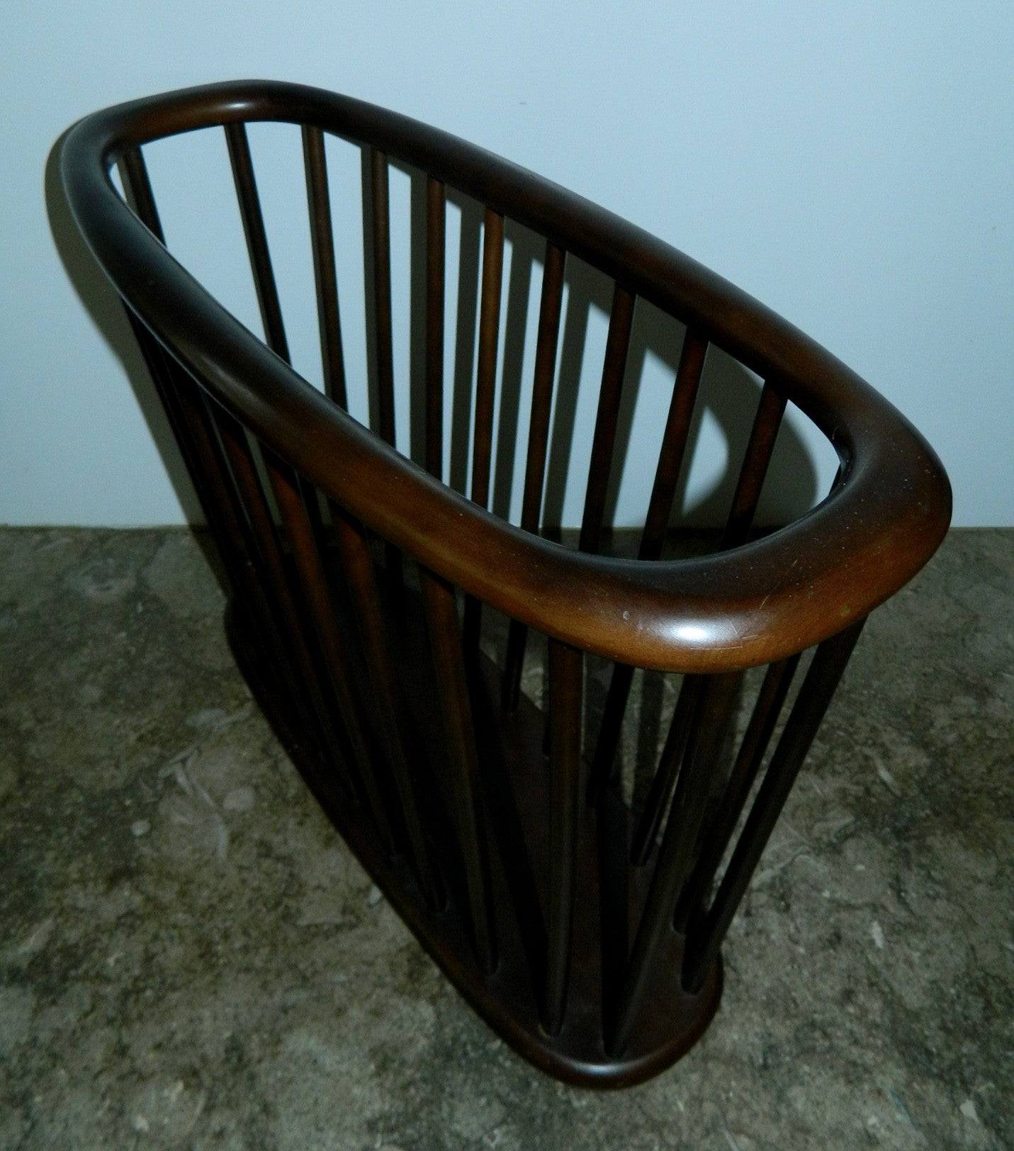 vintage MCM walnut magazine rack wood basket 1960s decor